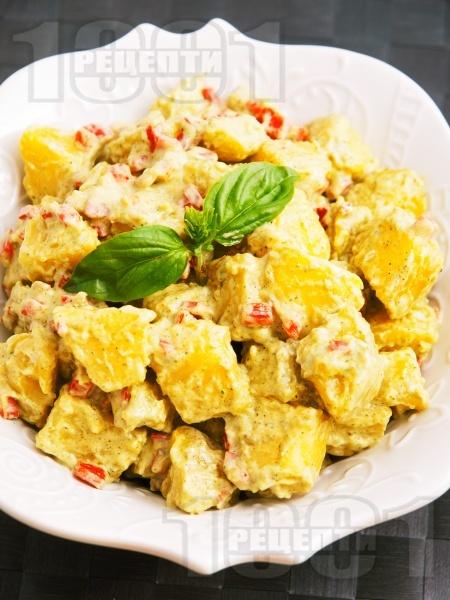 Лесна картофена салата с майонеза и босилек без лук - снимка на рецептата